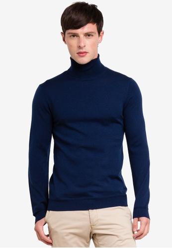 ESPRIT 海軍藍色 長袖上衣 99613AAD40F1E9GS_1