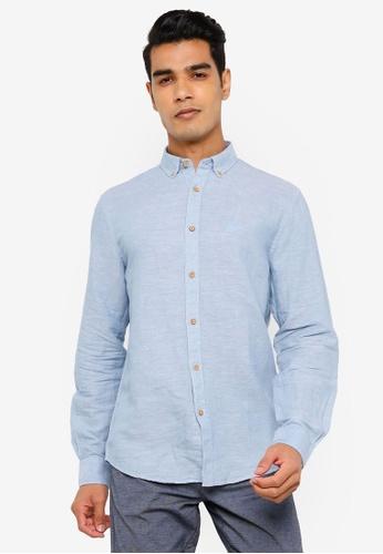 Springfield blue Linen Shirt F5B19AA2BA15E8GS_1