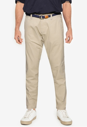 Only & Sons brown Will Regular Belted Chino Pants EBB9BAA0020C0BGS_1