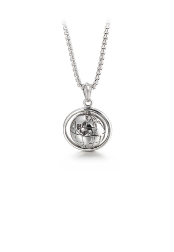 Glamorousky silver Fashion Personality Rotatable Globe 316L Stainless Steel Pendant with Necklace 6131DACFB9BBE3GS_1