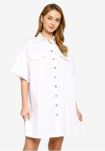 Mango white Oversize Shirt Dress 93867AAAE88B3DGS_1