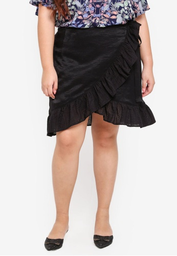 LOST INK PLUS black Plus Size Wrap Skirt With Broderie Frills E2B10AA1552D43GS_1