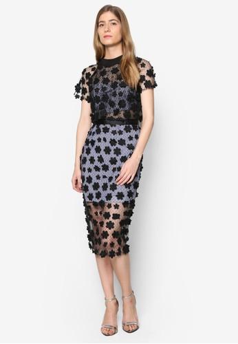 Lesley 高領蕾絲esprit 請人及膝洋裝, 服飾, 洋裝