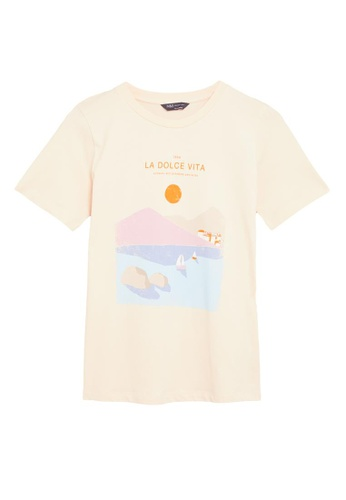 MARKS & SPENCER white M&S Pure Cotton Slogan Straight Fit T-Shirt AAD7EAAA0313B3GS_1