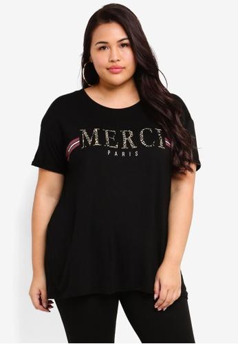 Dorothy Perkins 黑色 Plus Size Black 'Merci' Motif Top AB344AA8E5E816GS_1