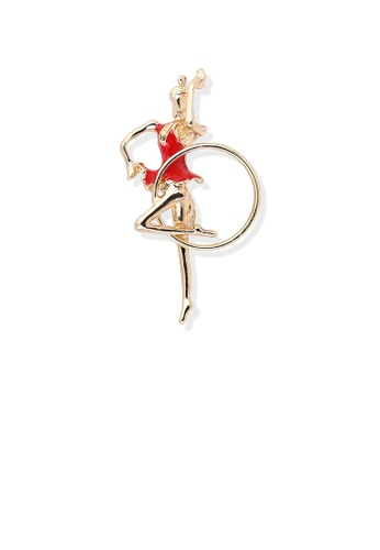 Glamorousky silver Fashion Personality Plated Gold Red Hula Hoop Gymnastic Girl Brooch CCCCFAC27B4840GS_1
