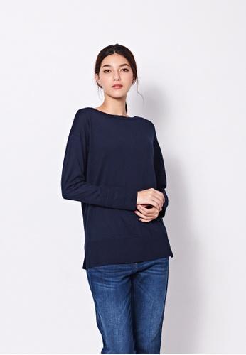 Sisley blue Boat Neck Sweater C20BFAAF23A08DGS_1