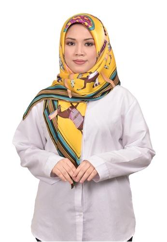 FATIMÉ multi Satin Square Hijab Hermes (Yellow) 787D5AA348F7C7GS_1