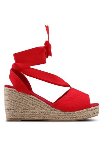 Vero Moda 紅色 綁帶草編楔型涼鞋 AB60CSHA7666C0GS_1