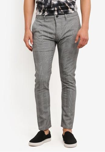 Topman 黑色 Grey Check Stretch Skinny Trousers TO413AA0RMN2MY_1