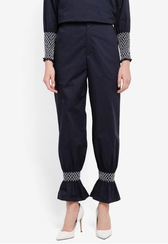 Zalia navy Smocked Flare Cuff Pants 954A0AABBB6421GS_1
