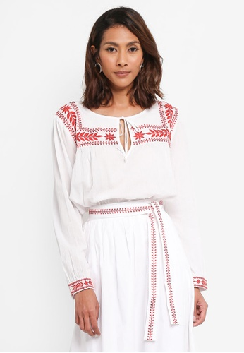 J.Crew white and red Embroidered Semolina Top Indian Voile 8C6B2AADAC01E4GS_1