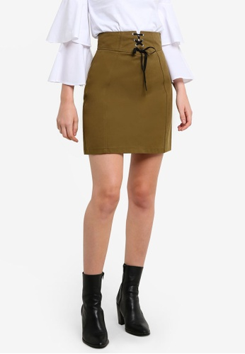 TOPSHOP green Corset Lace Up Skirt TO412AA0RFTAMY_1