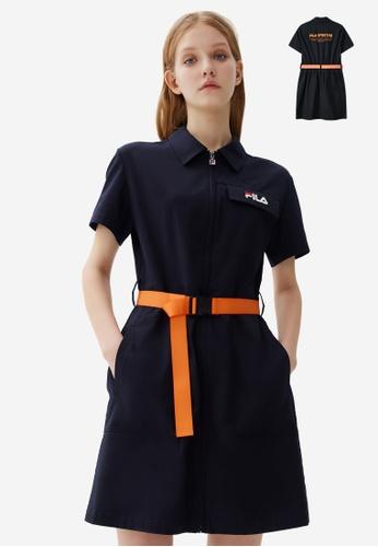 FILA navy Embroidery FILA Logo Multi Pocket Cargo Dress 99065AA35F1E85GS_1