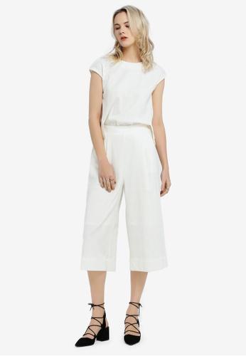 Hopeshow white Culottes Jumpsuit 86126AADBC0EFEGS_1