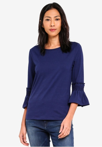 ESPRIT navy Three Quarter Sleeve T-Shirt B24F6AA289EF1CGS_1