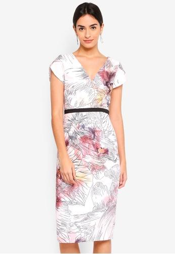Little Mistress multi Abigail Line Print Mock Wrap Dress 05544AA41B12D4GS_1