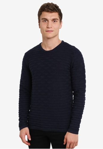 !Solid blue Kameron Geo Knit Sweater SO701AA0S2V3MY_1
