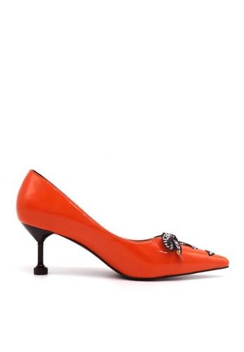 Twenty Eight Shoes orange Printed Ribbon Heels VL180689 3ABE7SH04ABE83GS_1