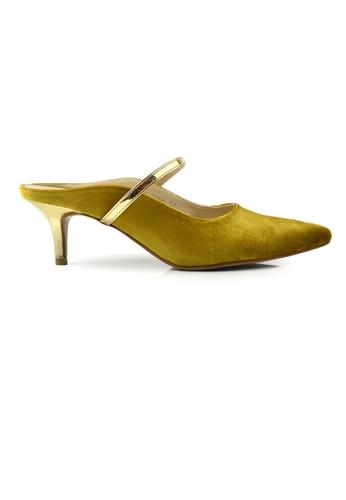 SHINE yellow SHINE Slip On Point Toe Suede Heels 5710ESHFE0D87CGS_1