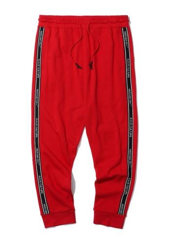 MUSIUM DIV red Rav side taped sweatpants 111DEAADAE4432GS_1