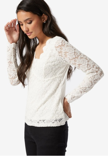 Dorothy Perkins white PETITE Ivory Scallop Lace Top 61855AAC020BF2GS_1