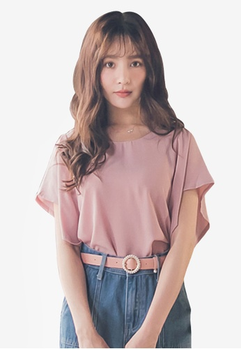 Yoco pink Twist Back Ruffle Sleeve Top 74789AA4B1079BGS_1