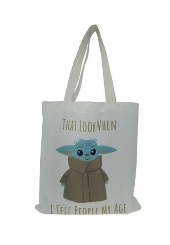 Star Wars beige Star Wars Mandalorian Baby Yoda Canvas Tote Bag 2B9EFKCA0E9551GS_1