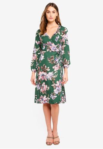 Brave Soul green Long Sleeve V Neck Midi Dress 83BD9AAB7B85C3GS_1