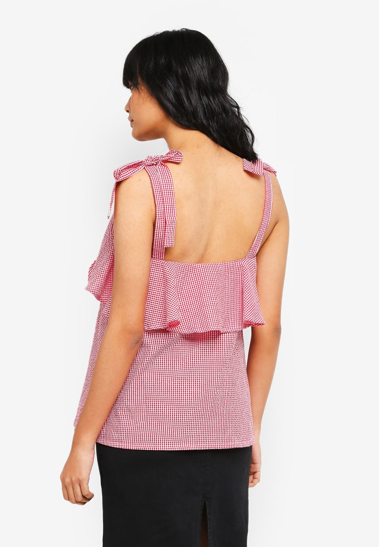 Red Cami Tiered Top Borrowed Something vnqI5xOgW5