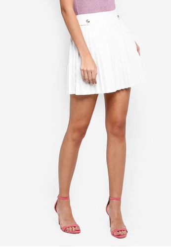 MISSGUIDED white Military Button Pleated Mini Skirt 50F95AA31FC221GS_1