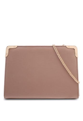 Dorothy Perkins brown Mink Metal Corner Boxy Clutch 5D706AC50B0D46GS_1