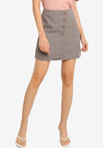 ZALORA BASICS grey Button Detail Mini Skirt F37AAAA468717FGS_1