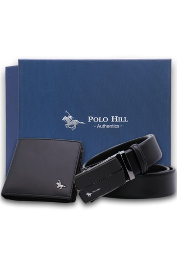 Polo Hill black Polo Hill Men Gift Box Set Genuine Leather RFID Wallet Genuine Leather Automatic Buckle Belt 79E47AC037C4E2GS_1