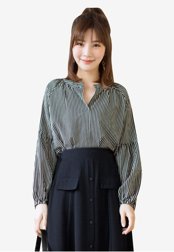Tokichoi black Striped V-Neck Blouse 579F5AAA7A4F70GS_1