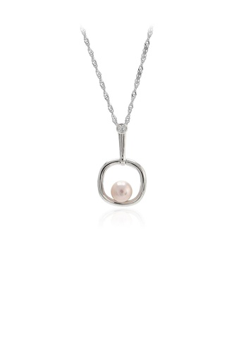 Glamorousky purple 925 Sterling Silver Fashion Simple Geometric Purple Freshwater Pearl Pendant with Necklace 4A9F7AC649970AGS_1
