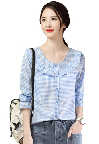 A-IN GIRLS blue Ladies Flared Sleeve Checkered Shirt 7F071AA4F01AD1GS_1