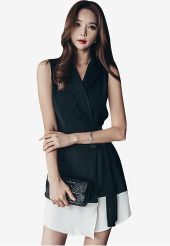 Sunnydaysweety black Polyester Wrap Dresses CDAB8AA5E9145EGS_1