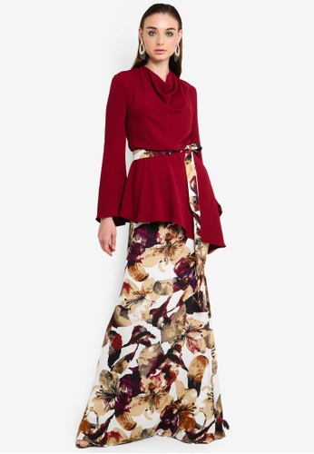 Aster Cowl Neck Kurung from Justin Yap Collection in red and Multi