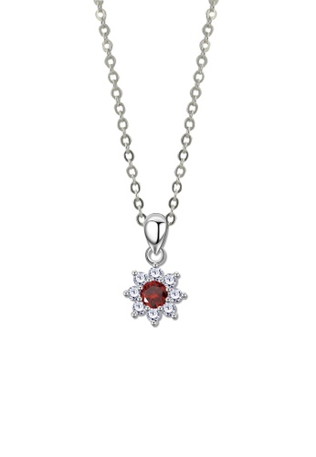 SC Tom Silver silver Flower Red Stone Pendant with Chain -SP276 w/chain SC872AC71JWEPH_1