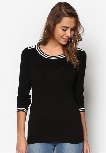 條紋邊飾鈕扣長袖衫、 服飾、 服飾Wallis條紋邊飾鈕扣長袖衫最新折價