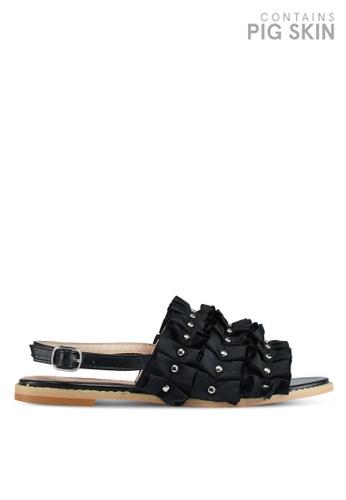 LOST INK 黑色 層次荷葉鉚釘涼鞋 DF7E0SHE5CD3FFGS_1