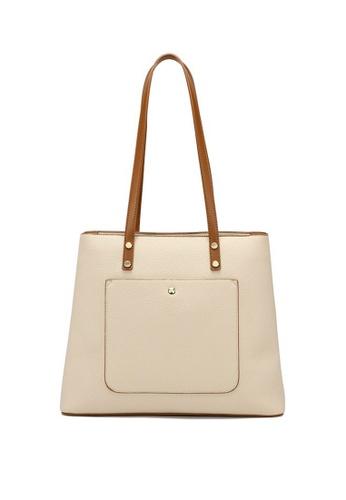 Lara beige Women's Leisure Plain Leather Zipper Tote Bag - Beige 06A31ACE7079F4GS_1