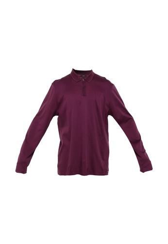 BOSS purple T-Palmer 03 Long Sleeve Polo Shirt C72FEAAD7F5AD3GS_1