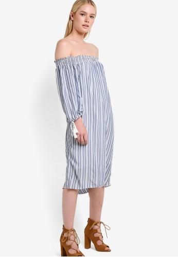 Max Studio blue Off Shoulder Tie Sleeve Dress MA703AA39LUIMY_1