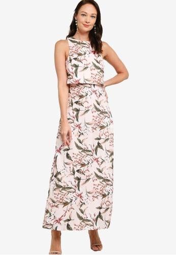 ZALORA OCCASION pink and multi Double Layer Maxi Dress C371CAAFCF72BBGS_1