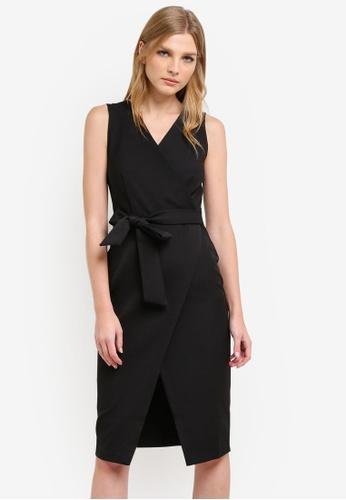 CLOSET black Wrap with Tie Dress CL919AA0S6HAMY_1