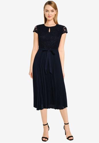 Dorothy Perkins blue Petite Navy Lace Pleated Midi Dress A8337AAB1DA0B2GS_1