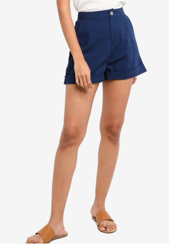 ZALORA BASICS navy Basic Rolled Hem Shorts B1464AA727DF47GS_1