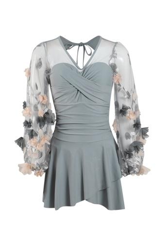 Its Me grey Elegant Gauze Flower One-Piece Swimsuit 1EA30US0B4774BGS_1